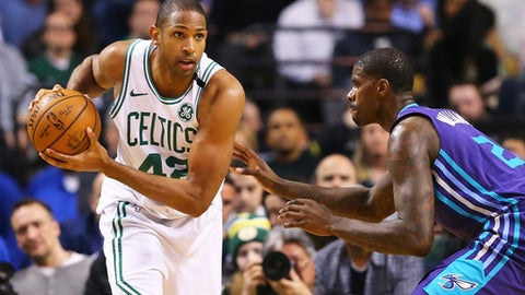 BOSTON, MA - FEBRUARY 28:  Al Horford #42 of the Boston Celtics looks to pass during a game against the Charlotte Hornets at TD Garden on February 28, 2018 in Boston, Massachusetts. (Photo by Adam Glanzman/Getty Images)