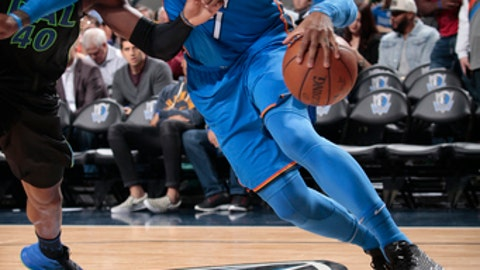 DALLAS, TX - FEBRUARY 28: Carmelo Anthony #7 of the Oklahoma City Thunder handles the ball during the game against the Dallas Mavericks on February 28, 2018 at the American Airlines Center in Dallas, Texas. (Photo by Glenn James/NBAE via Getty Images)