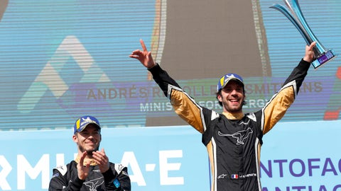 SANTIAGO, CHILE - FEBRUARY 3: In this handout provided by FIA Formula E - Jean-Eric Vergne (FRA), TECHEETAH, Renault ZE 17 and Andre Lotterer (BEL), TECHEETAH, Renault ZE 17 make up the first 1st 2nd finish in Formula E history during the Santiago ePrix, Round 4 of the 2017/18 FIA Formula E Series on February 3, 2018 in Santiago, Chile. (Photo by Alastair Staley/LAT Images/FIA Formula E via Getty Images)