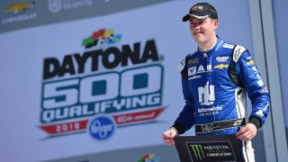 Alex Bowman reacts to winning the pole for the Daytona 500