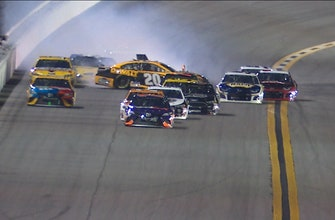 Erik Jones collects Kyle Larson after contact with Chase Elliott in Duel #2