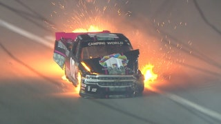 Jennifer Jo Cobb erupts into flames at Daytona | 2018 TRUCK SERIES | FOX NASCAR