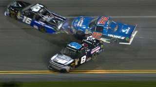 John Hunter Nemechek sets off big wreck after tire failure | 2018 TRUCK SERIES | FOX NASCAR