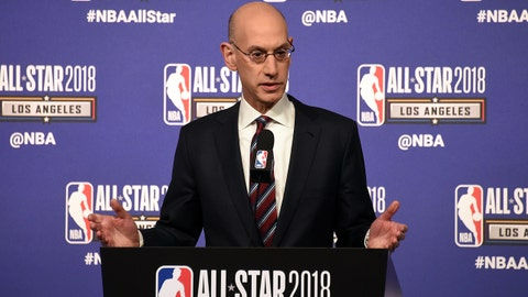 Feb 17, 2018; Los Angeles, CA, USA; NBA commissioner Adam Silver speaks during the Commissioner Press Conference at the NBA All Star Games at Staples Center. Mandatory Credit: Richard Mackson-USA TODAY Sports