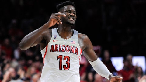 Feb 10, 2018; Tucson, AZ, USA; Arizona Wildcats forward Deandre Ayton (13) celebrates after scoring against the Southern California Trojans during the first half at McKale Center. Mandatory Credit: Casey Sapio-USA TODAY Sports