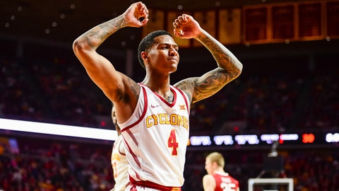 Feb 10, 2018; Ames, IA, USA; Iowa State Cyclones guard Donovan Jackson (4) reacts during the first half against the Oklahoma Sooners at James H. Hilton Coliseum. Mandatory Credit: Jeffrey Becker-USA TODAY Sports
