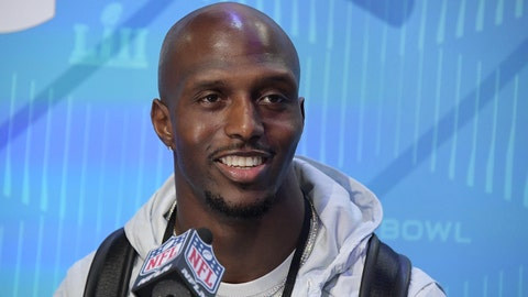 Jan 29, 2018; St. Paul, MN, USA; New England Patriots defensive back Devin McCourty is interviewed during Super Bowl LII Opening Night at Xcel Energy Center. Mandatory Credit: Kirby Lee-USA TODAY Sports