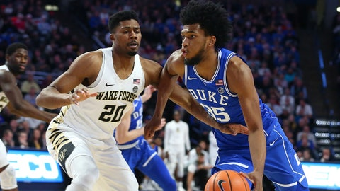 Jan 23, 2018; Winston-Salem, NC, USA; Duke Blue Devils forward Marvin Bagley III (35) drives the ball against Wake Forest Demon Deacons forward Terrence Thompson (20) in the second half at Lawrence Joel Veterans Memorial Coliseum. Mandatory Credit: Jeremy Brevard-USA TODAY Sports