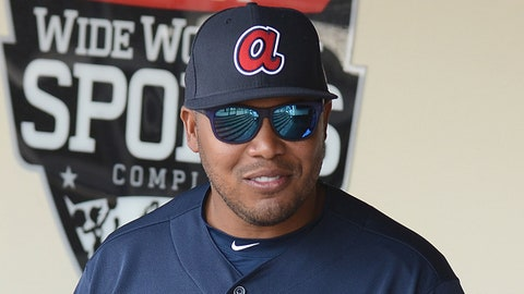 Mar 5, 2016; Lake Buena Vista, FL, USA; Atlanta Braves special assistant to baseball operations Andruw Jones before the start of the spring training game against the Pittsburgh Pirates  at Champion Stadium. Mandatory Credit: Jonathan Dyer-USA TODAY Sports