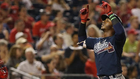 Sep 14, 2017; Washington, DC, USA; Atlanta Braves second baseman Ozzie Albies (1) celebrates after hitting a two run home run against the Washington Nationals in the sixth inning at Nationals Park. The Nationals won 5-3. Mandatory Credit: Geoff Burke-USA TODAY Sports