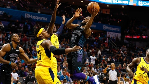 Feb 2, 2018; Charlotte, NC, USA; Charlotte Hornets guard Kemba Walker (15) goes up for a shot against Indiana Pacers center Myles Turner (33) in the second half at Spectrum Center. Mandatory Credit: Jeremy Brevard-USA TODAY Sports