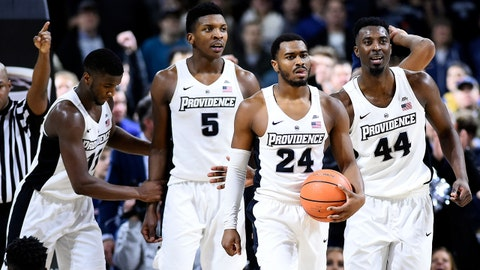 Feb 6, 2018; Providence, RI, USA; Providence Friars guard Alpha Diallo (11), forward Rodney Bullock (5), guard Kyron Cartwright (24), guard Isaiah Jackson (44) walk down the court after drawing a foul on Georgetown Hoyas center Jessie Govan (15) during the second half at the Dunkin Donuts Center. Mandatory Credit: Brian Fluharty-USA TODAY Sports