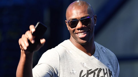 Feb 3, 2017; Houston, TX, USA; Former wide receiver Terrell Owens on radio row at the George R. Brown Convention Center in preparation for Super Bowl LI. Mandatory Credit: John David Mercer-USA TODAY Sports