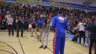 Globetrotter 'El Gato' Melendez visits Bonita Vista High School and the Splash
