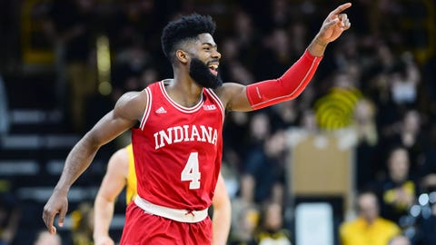 Feb 17, 2018; Iowa City, IA, USA; Indiana Hoosiers guard Robert Johnson (4) reacts during the second half against the Iowa Hawkeyes at Carver-Hawkeye Arena. Mandatory Credit: Jeffrey Becker-USA TODAY Sports