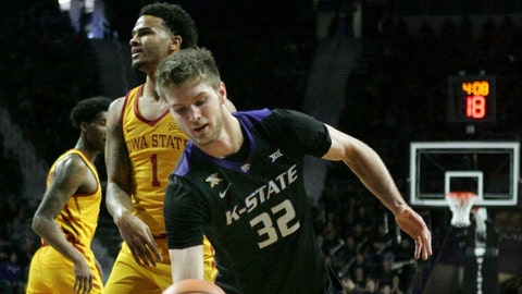 Feb 17, 2018; Manhattan, KS, USA; Kansas State Wildcats forward Dean Wade (32) has the ball knocked away by Iowa State Cyclones guard Nick Weiler-Babb (1) at Bramlage Coliseum. The Wildcats won the game 78-66. Mandatory Credit: Scott Sewell-USA TODAY Sports