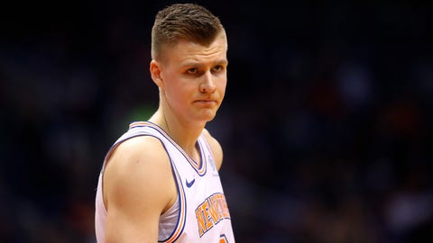 Kristaps Porzingis appeared to suffer a serious knee injury when he landed awkwardly on a dunk