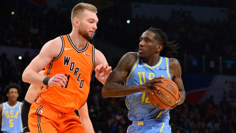 Feb 16, 2018; Los Angeles, CA, USA; USA forward Taurean Prince (12) with the ball as World center Domantas Sabonis (11) defends in the Rising Stars Challenge at Staples Center. Mandatory Credit: Gary Vasquez-USA TODAY Sports