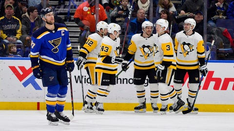 Feb 11, 2018; St. Louis, MO, USA; Pittsburgh Penguins center Sidney Crosby (87) is congratulated by teammates after scoring his 400th career goal during the second period against the St. Louis Blues at Scottrade Center. Mandatory Credit: Jeff Curry-USA TODAY Sports