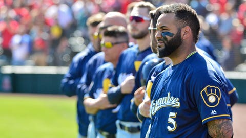 Milwaukee Brewers shortstop Jonathan Villar looks on during the national anthem prior to a game against the Los Angeles Angels.