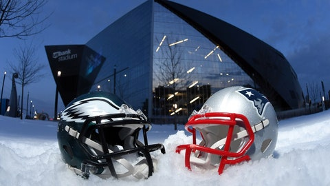 Jan 31, 2018; Minneapolis, MN, USA; General overall view of Philadelphia Eagles and New England Patriots helmets at U.S. Bank Stadium prior to Super Bowl LII. Mandatory Credit: Kirby Lee-USA TODAY Sports