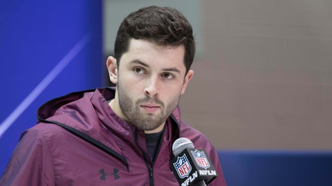 Mar 2, 2018; Indianapolis, IN, USA; Oklahoma Sooners quarterback Baker Mayfield speaks to the media during the 2018 NFL Combine at the Indianapolis Convention Center. Mandatory Credit: Trevor Ruszkowski-USA TODAY Sports