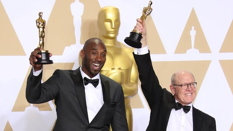 "March 4, 2018; Hollywood, CA, USA; Kobe Bryant, left, and Glen Keane, winners of the award for best animated short for ""Dear Basketball,"" pose in the photo room during the 90th Academy Awards at Dolby Theatre. Mandatory Credit: Dan MacMedan-USA TODAY NETWORK"