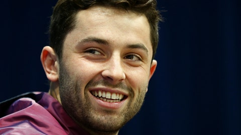 Mar 2, 2018; Indianapolis, IN, USA; Oklahoma Sooners quarterback Baker Mayfield (QB14) speaks with media during the NFL Combine at the Indianapolis Convention Center. Mandatory Credit: Aaron Doster-USA TODAY Sports