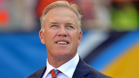Oct 22, 2017; Carson, CA, USA; Denver Broncos general manager John Elway looks on before the game against the Los Angeles Chargers at StubHub Center. Mandatory Credit: Jake Roth-USA TODAY Sports