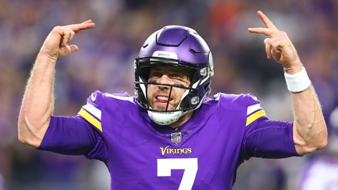 Jan 14, 2018; Minneapolis, MN, USA; Minnesota Vikings quarterback Case Keenum (7) celebrates after a touchdown by running back Latavius Murray (not pictured) against the New Orleans Saints in the second quarter of the NFC Divisional Playoff football game at U.S. Bank Stadium. Mandatory Credit: Mark J. Rebilas-USA TODAY Sports
