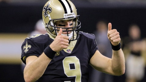Sep 17, 2017; New Orleans, LA, USA; New Orleans Saints quarterback Drew Brees (9) during warmups before a game against the New England Patriots at the Mercedes-Benz Superdome. Mandatory Credit: Derick E. Hingle-USA TODAY Sports