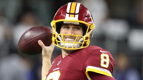 Nov 30, 2017; Arlington, TX, USA; Washington Redskins quarterback Kirk Cousins (8) throws prior to the game against the Dallas Cowboys at AT&T Stadium. Mandatory Credit: Matthew Emmons-USA TODAY Sports