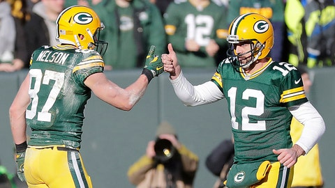 Dec 24, 2016; Green Bay, WI, USA; Green Bay Packers wide receiver Jordy Nelson (87) and quarterback Aaron Rodgers (12) celebrate a touchdown completion in the second quarter against the Minnesota Vikings at Lambeau Field. Mandatory Credit: Jim Matthews/USA TODAY NETWORK-Wisconsin via USA TODAY Sports
