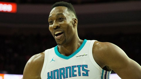 Mar 19, 2018; Philadelphia, PA, USA; Charlotte Hornets center Dwight Howard (12) reacts to the Philadelphia 76ers bench during the first quarter at Wells Fargo Center. Mandatory Credit: Bill Streicher-USA TODAY Sports