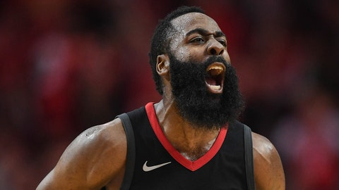 Dec 11, 2017; Houston, TX, USA; Houston Rockets guard James Harden (13) reacts during the fourth quarter against the New Orleans Pelicans at Toyota Center. Mandatory Credit: Shanna Lockwood-USA TODAY Sports