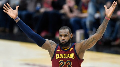 Mar 21, 2018; Cleveland, OH, USA; Cleveland Cavaliers forward LeBron James (23) celebrates a win over the Toronto Raptors at Quicken Loans Arena. Mandatory Credit: David Richard-USA TODAY Sports