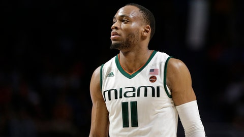 In this Jan. 15, 2018 photo Miami's Bruce Brown Jr. (11) stands on the court during the second half of an NCAA college basketball game against Duke in Coral Gables, Fla. Brown is expected to be sidelined for about six weeks because of a left foot injury that will require surgery. (AP Photo/Lynne Sladky)