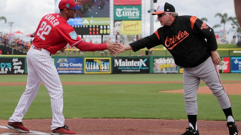 Philadelphia Phillies manager Gabe Kapler (22) shakes hands with Baltimore Orioles manager Buck Showalter before a baseball spring exhibition game, Saturday, Feb. 24, 2018, in Clearwater, Fla. (AP Photo/Lynne Sladky)