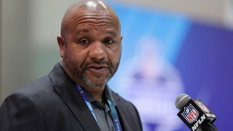 Cleveland Browns head coach Hue Jackson speaks during a press conference at the NFL Combine in Indianapolis, Wednesday, Feb. 28, 2018. (AP Photo/Michael Conroy)
