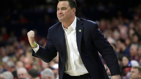 FILE - In this Saturday, Jan. 27, 2018 file photo, Arizona head coach Sean Miller in the first half during an NCAA college basketball game against Utah in Tucson, Ariz. The Arizona Board of Regents has scheduled a special meeting on Thursday, March 1, 2018jan. 27, 2018 file photo to get legal advice and discuss the mens basketball program at the University of Arizona and the contract of coach Sean Miller.(AP Photo/Rick Scuteri, File)