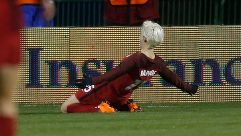 United States' Megan Rapinoe celebrates her goal against Germany during the first half of a SheBelieves Cup women's soccer match Thursday, March 1, 2018, in Columbus, Ohio. (AP Photo/Jay LaPrete)