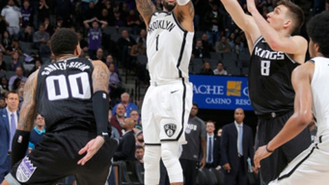 SACRAMENTO, CA - MARCH 1: D'Angelo Russell #1 of the Brooklyn Nets shoots the ball against the Sacramento Kings on March 1, 2018 at Golden 1 Center in Sacramento, California. (Photo by Rocky Widner/NBAE via Getty Images)