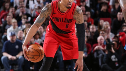 PORTLAND, OR - MARCH 1:  Damian Lillard #0 of the Portland Trail Blazers handles the ball against the Minnesota Timberwolves on March 1, 2018 at the Moda Center in Portland, Oregon. (Photo by Sam Forencich/NBAE via Getty Images)