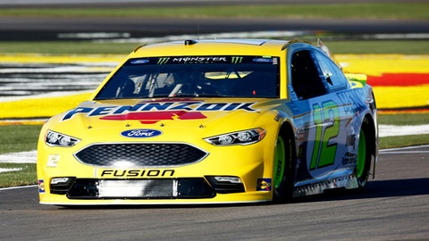 Ryan Blaney heads along pit road at Las Vegas Motor Speedway in Las Vegas on Friday, March 2, 2018. Blaney won the pole for Sunday's NASCAR Cup Series auto race. (Andrea Cornejo/Las Vegas Review-Journa via AP)