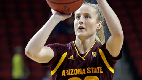 Arizona State's Courtney Ekmark shoots a free throw against Oregon State late in the second half of an NCAA college basketball game in the quarterfinals of the Pac-12 women's tournament Friday, March 2, 2018, in Seattle. Arizona State won 57-51. (AP Photo/Elaine Thompson)