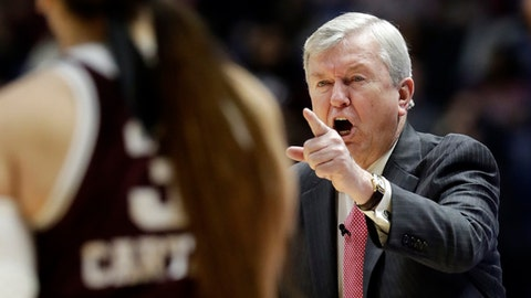 Texas A&M head coach Gary Blair yells to his players in the first half of an NCAA college basketball semifinal game against Mississippi State at the women's Southeastern Conference tournament, Saturday, March 3, 2018, in Nashville, Tenn. (AP Photo/Mark Humphrey)