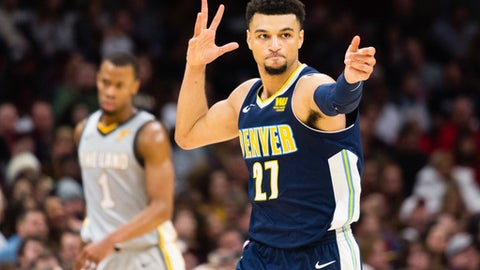 CLEVELAND, OH - MARCH 3: Jamal Murray #27 of the Denver Nuggets celebrates after scoring against the Cleveland Cavaliers during the second half at Quicken Loans Arena on March 3, 2018 in Cleveland, Ohio. The Nuggets defeated the Cavaliers 126-117. (Photo by Jason Miller/Getty Images)