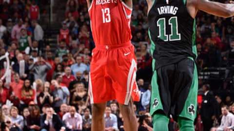 HOUSTON, TX - MARCH 3: James Harden #13 of the Houston Rockets shoots the ball against the Boston Celtics on March 3, 2018 at the Toyota Center in Houston, Texas. (Photo by Bill Baptist/NBAE via Getty Images)