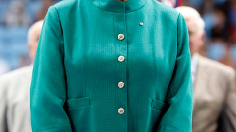 FILE - In this Jan. 26, 2015, file photo, Australian tennis great Margaret Court looks on during the official launch of the remodeled Margaret Court Arena at the Australian Open tennis championship in Melbourne, Australia. Tennis great Chris Evert says the name of Margaret Court should remain on the arena at the Australian Open despite her controversial views on LGBT rights. (AP Photo/Vincent Thian, File)