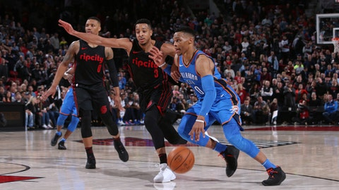 PORTLAND, OR - MARCH 3:  Russell Westbrook #0 of the Oklahoma City Thunder handles the ball against the Portland Trail Blazers on March 3, 2018 at the Moda Center in Portland, Oregon. (Photo by Sam Forencich/NBAE via Getty Images)
